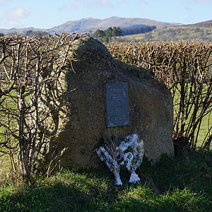 Frongoch internment camp - Marker stone and plaque at Frongoch on the side of the A4212 road