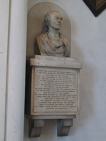 Memorial in St Luke's Church, Charlton Memorial to Spencer Perceval, St Luke's church, Charlton (cropped).jpg