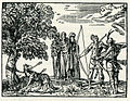 Men in ancient Athens shoot arrows at a wolf, in accordance with Plutarch's description - Thevet André - 1556.jpg