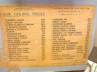 Office of Price Administration - Image: Menu with Ceiling Prices IMG 1488
