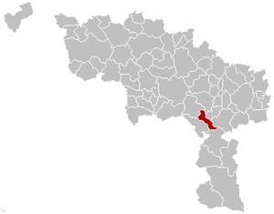 Merbes-le-Château - Image: Merbes le Château Hainaut Belgium Map