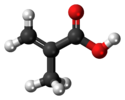 Ball-and-stick model of the methacrylic acid molecule