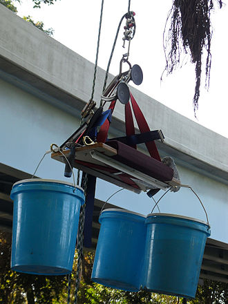 Bosun's chair - A window cleaner's bosun's chair connected to a descent-only rope system