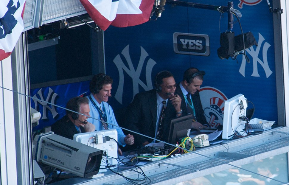 Michael Kay, Paul O'Neill, Ken Singleton in broadcast booth