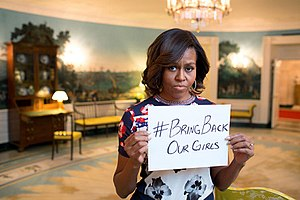 Boko Haram - Michelle Obama raising public awareness of the Chibok kidnapping