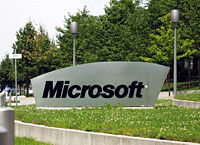 The Microsoft sign at the entrance of the German Microsoft campus, Konrad-Zuse-Str. 1, Unterschleißheim, Germany. Microsoft became an international company with headquarters in many countries.