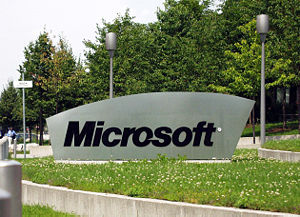 History of Microsoft - The Microsoft sign at the entrance of the German Microsoft campus, Konrad-Zuse-Str. 1, Unterschleißheim, Germany. Microsoft became an international company with headquarters in many countries.
