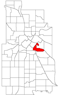 Location of Cedar-Riverside within the U.S. city of Minneapolis