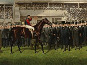 Minoru (horse) - Minoru with Herbert Jones up in the Winner's Circle at Epsom. Painting by Alfred Charles Havell
