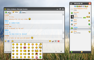 Miranda IM - Customized Miranda IM 0.6.8 – plugins (Modern Contact List, SmileyAdd, Scriver…), skin (WIP Zune), icons, colors, etc…