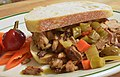 Mmm... apple smoked pork on garlic bread (8233319828).jpg