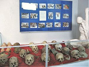 "Dorjjavyn Luvsansharav - Skulls of murdered lamas at the ""Memorial Museum of Victims of political Persecutions"" in Ulaanbaatar"
