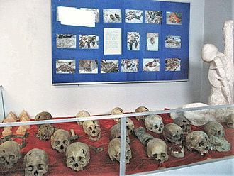 Stalinist repressions in Mongolia - Skulls of victims that were shot in the head, displayed at a museum documenting the event
