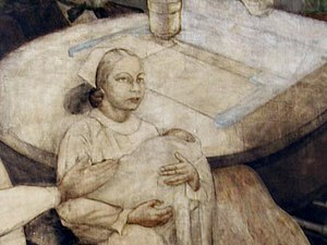 Myra Adele Logan - Detail of Charles Alston's ''Modern Medicine'' (oil on canvas) in Harlem Hospital, a mural commissioned in 1936 by the WPA. Logan was a medical intern at the hospital then and served as a model for the mural; she appears as a nurse holding a baby.