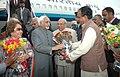 Mohd. Hamid Ansari and his wife Smt. Salma Ansari being received by the Governor of Madhya Pradesh, Shri Rameshwar Thakur and the Chief Minister of Madhya Pradesh, Shri Shivraj Singh Chauhan.jpg