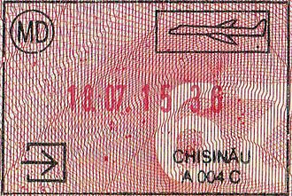 Visa policy of Moldova - Entry stamp of Moldova