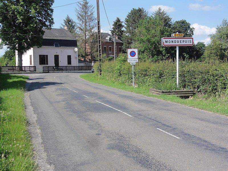 Mondrepuis (Aisne) city limit sign