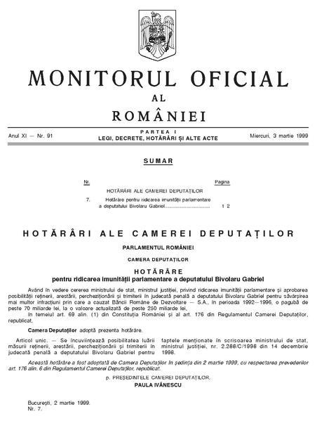 File:Monitorul Oficial al României. Partea I 1999-03-03, nr. 91.pdf