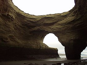 Natural arches on the park's beach