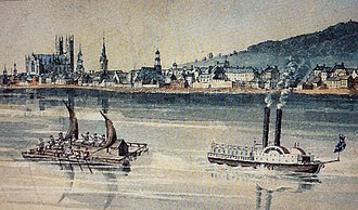 """John Molson - Montréal around 1830 with  """"cagers"""" and steam boats in the foreground. Cagers were large rafts made of logs attached to each other on which the boatmen installed a cabin or """"cage"""".  They descended the river as far as Molson dock. Seen from Sainte-Hélène island."""