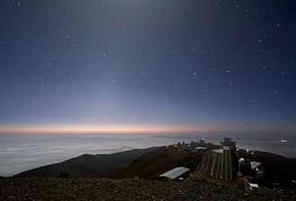 Zodiacal light - Moonlight and zodiacal light over La Silla Observatory.