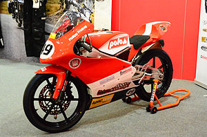 Red and White Moriwaki MD250H racing motorcycle two-fifty cc