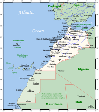 Geography of Morocco - Morocco's and Western Sahara's cities and main towns