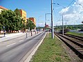 Most, tř. Budovatelů, zastávka Zimní stadion a děkanský kostel.jpg