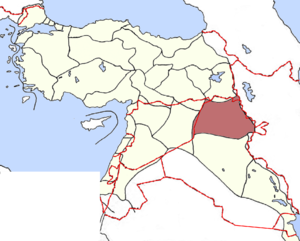 Mosul Question - The vilayet of Mosul in 1914, with modern borders superimposed