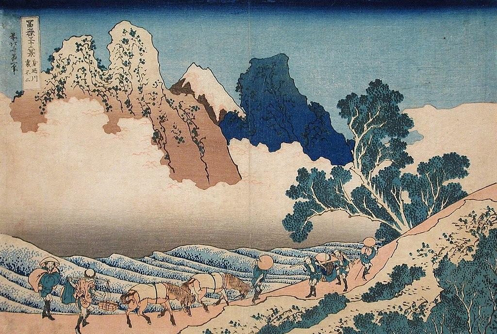 Mont Fuji depuis la rivière Minobu par Hokusai.