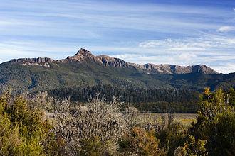 Mount Anne - Mount Anne, Mount Eliza and the Eliza Plateau from Scotts Peak Dam Road