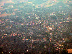 Aerial view of Muncie with the university in the lower left quadrant.
