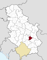 Location of the municipality of aleksinac within serbia