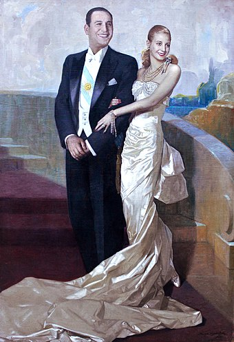 "Official portrait of Juan Domingo Peron and Evita, by Numa Ayrinhac in 1948. He is the only Argentine President to be accompanied by the First Lady in an official portrait. Museo del Bicentenario - ""Retrato de Juan Domingo Peron y Eva Duarte"", Numa Ayrinhac.jpg"