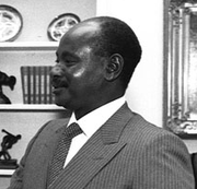 Profile picture of Yoweri Museveni during a visit to President Reagan of the United States in 1987