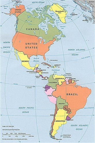 Americas - CIA political map of the Americas in Lambert azimuthal equal-area projection