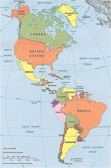 1990s CIA political map of the Americas in Lambert azimuthal equal-area projection