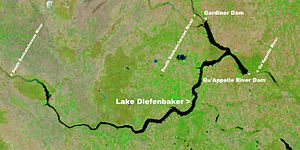 NASA satellite image of Lake Diefenbaker in Saskatchewan Canada.jpg