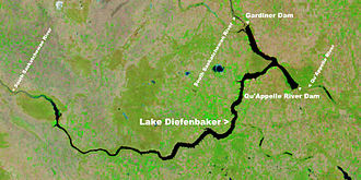 Lake Diefenbaker - NASA satellite image of Lake Diefenbaker