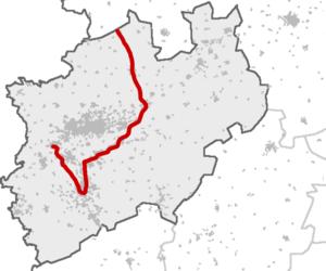 Rhein-Münsterland-Express - Route within North Rhine-Westphalia