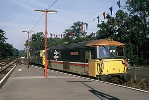 Bunting (textile) - NSE Eridge-Edenbridge celebrations (1988) with Red, White and Blue commemorating the Hundred Years of the Line.