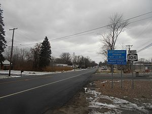 New York State Route 104 - NY 104 heading westward from NY 78 in Newfane