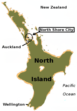 North Shore City within the North Island of New Zealand的位置