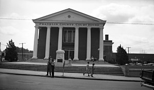 Franklin County Courthouse in Louisburg. July 1948.