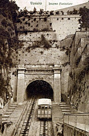 Chiaia Funicular - A view of the above-ground portion of the funicular in the late 19th century