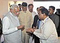 Narendra Modi being briefed about 'Amaravathi'- the new Capital city of Andhra Pradesh at the exhibition, in Andhra Pradesh. The Union Minister for Urban Development.jpg