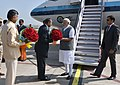 Narendra Modi being welcomed by the Governor of Andhra Pradesh and Telangana, Shri E.S.L. Narasimhan and the Chief Minister of Andhra Pradesh, Shri N. Chandrababu Naidu on his arrival, at Tirupati airport, Andhra Pradesh.jpg