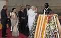 Narendra Modi paying homage to the statue of Mahatma Gandhi, at Mahatma Temple, in Gandhinagar on January 08, 2015. The Chief Minister of Gujarat, Smt. Anandiben Patel and other dignitaries are also seen.jpg