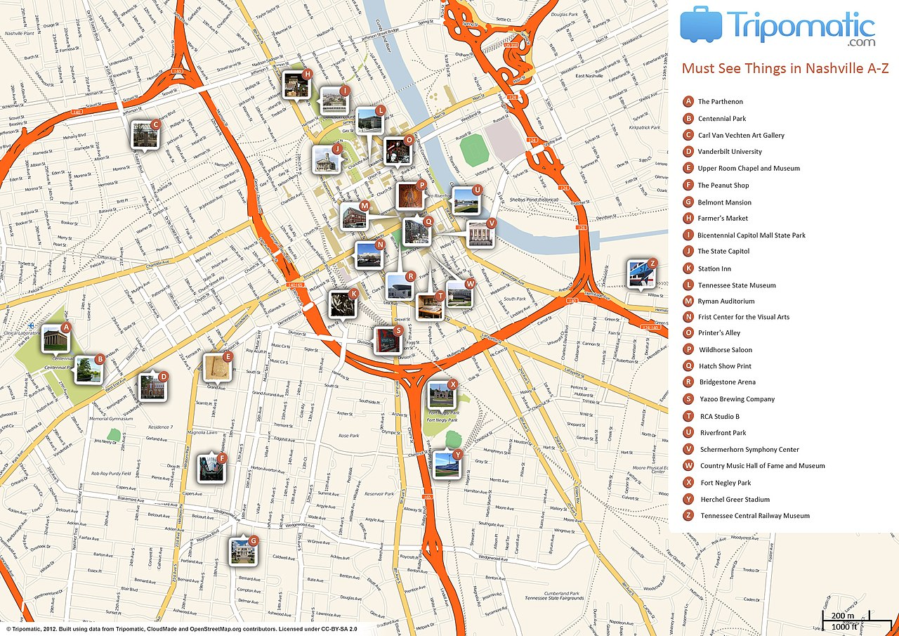 File Nashville Printable Tourist Attractions Map Jpg