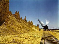 Nearly exhausted sulphur vat from which railroad cars are loaded, Freeport Sulphur Co., Hoskins Mound, Texas, 1a35438v.jpg